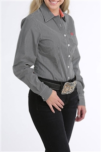 Cinch® Ladies Black & White Stripe Button-Down Shirt