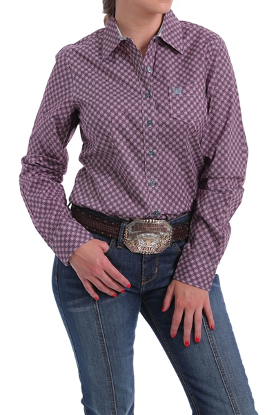 Cinch® Ladies Purple Geo Print Button-Down Shirt