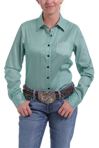 Cinch® Ladies TENCEL Green & Coral Geometric Print Button-Down Shirt