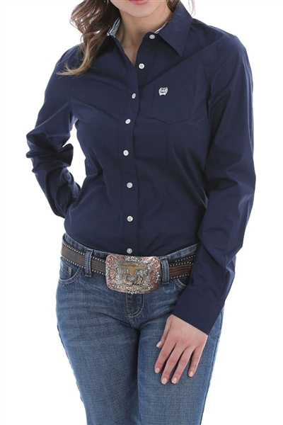 Cinch® Ladies Solid Navy Button-Down Shirt