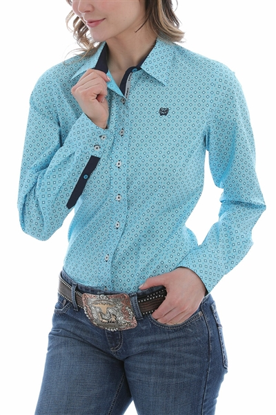 Cinch® Ladies Blue Print Long Sleeve Shirt