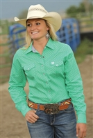 Cinch® Ladies Green Four-Point Star Print Snap Shirt