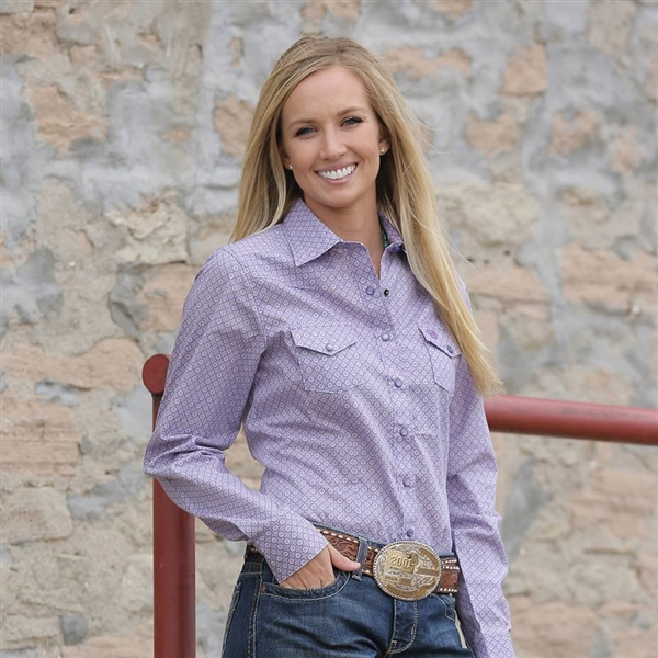 Cinch® Ladies Lavender Geo Print Long Sleeve Shirt