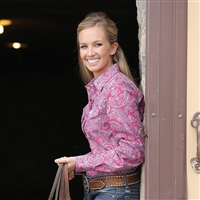 Cinch® Ladies Pink Paisley Snap Long Sleeve Shirt