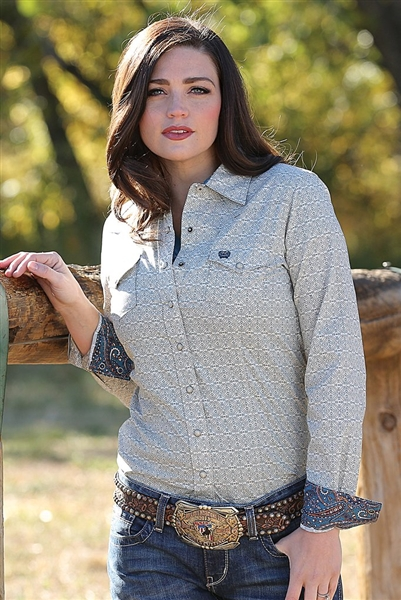 Cinch® Ladies Retro Print Long Sleeve Shirt