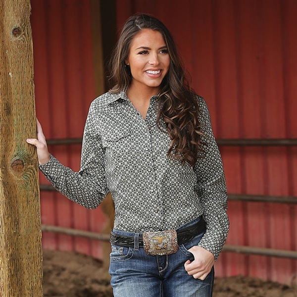 Cinch® Ladies Olive Geometric Print Long Sleeve Shirt