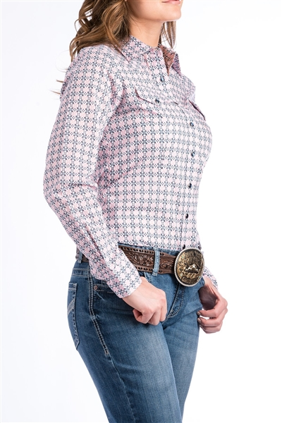 Cinch® Ladies Pink & Navy Medallion Shirt