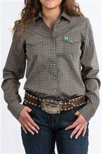 Cinch® Ladies Brown Geometric Print Shirt