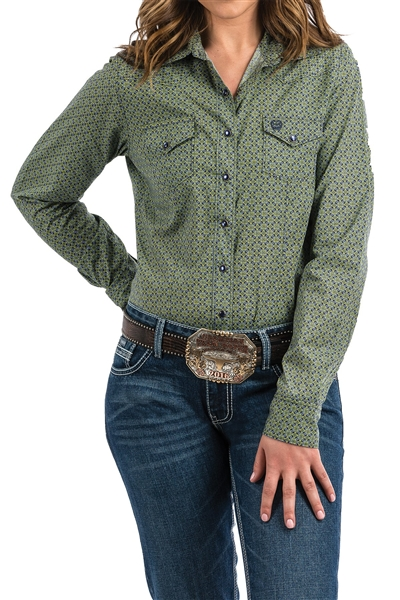 Cinch® Ladies Navy & Green Print Snap Front Shirt
