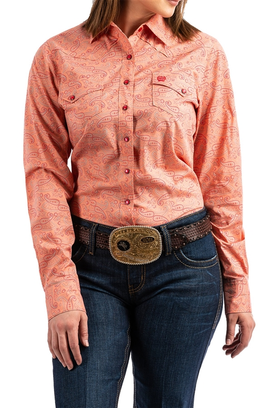 Cinch® Ladies Coral Paisley Print Snap Front Shirt
