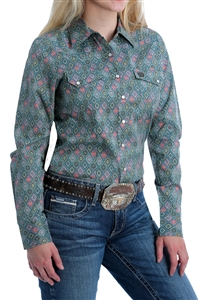 Cinch® Ladies Blue Medallion Print Long Sleeve Shirt