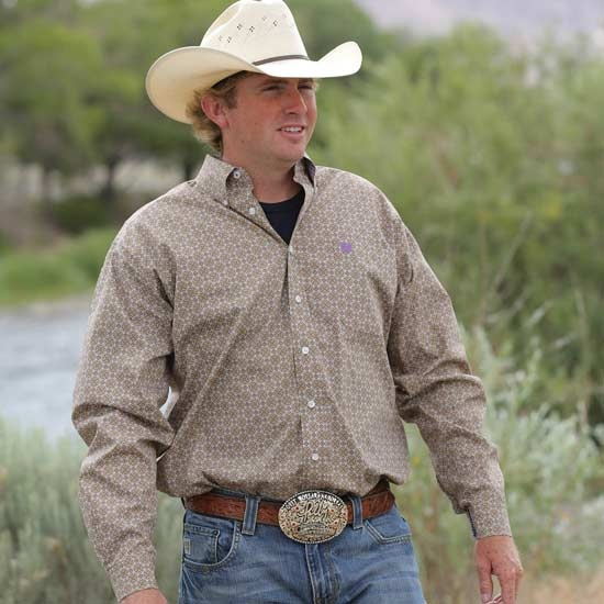 Mens Cinch® Long Sleeve Tan Pattern Shirt