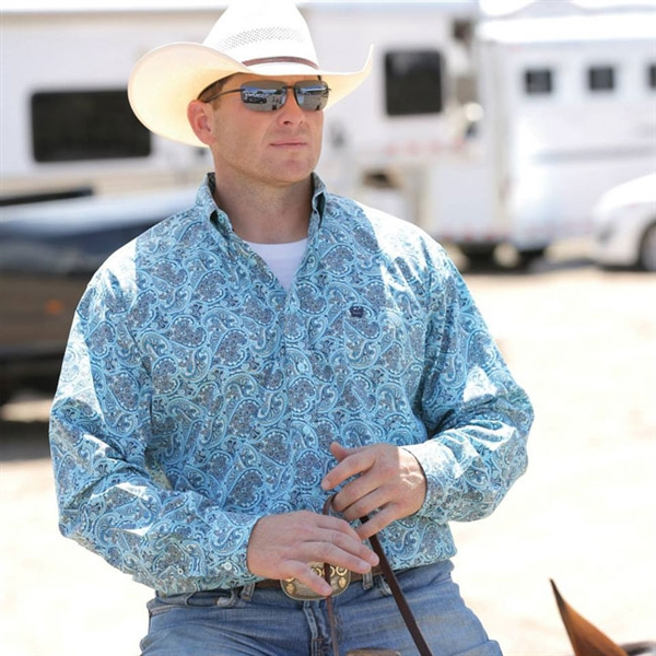 Mens Cinch® Long Sleeve Light Blue Paisley Shirt