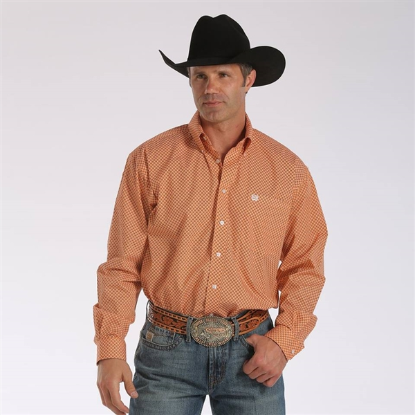 Mens Cinch® Long Sleeve Orange Print Pattern Shirt