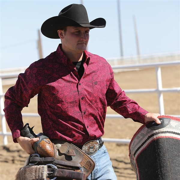 Mens Cinch® Long Sleeve Pink Paisley Shirt