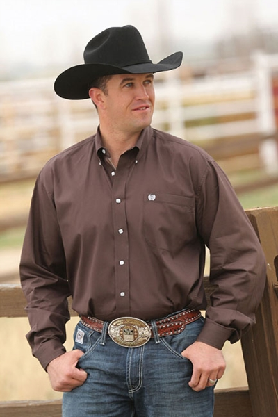 Mens Cinch® Long Sleeve Solid Brown Shirt
