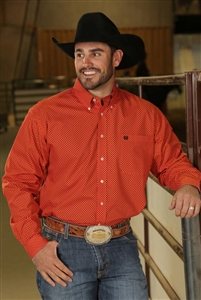 Mens Cinch® Long Sleeve Orange Geometric Print Shirt