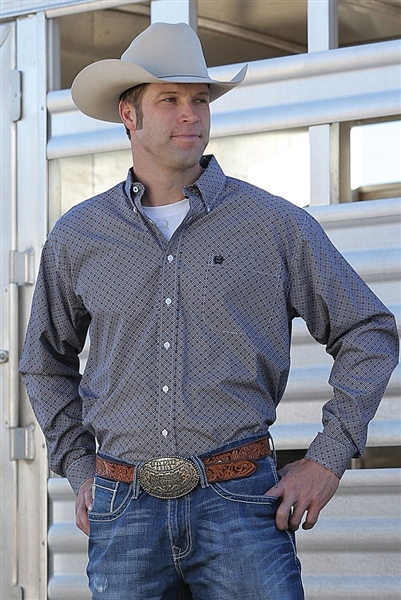 Mens Cinch® Long Sleeve Gray Multi Print Shirt