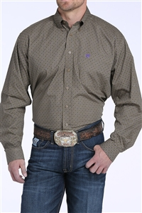 Mens Cinch® Long Sleeve Tan & Purple Print Shirt