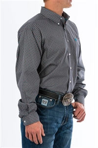 Mens Cinch® Long Sleeve Grey Geo Print Shirt
