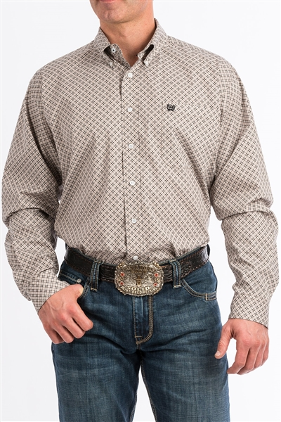 Mens Cinch® Long Sleeve Stone & White Geo Print Shirt