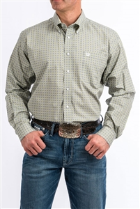 Mens Cinch® Long Sleeve Grey & Lime Diamond Print Shirt