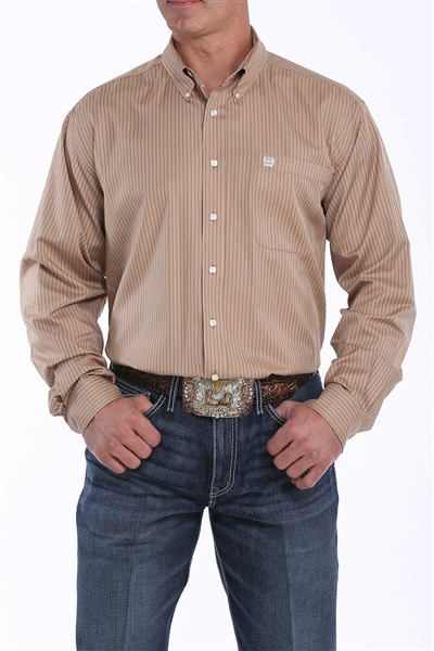 Mens Cinch® Tencel Long Sleeve Khaki & Cream Striped Shirt