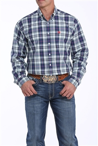 Mens Cinch® Long Sleeve Green & Navy Plaid Shirt