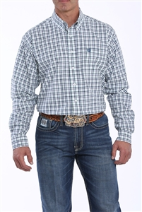 Mens Cinch® Long Sleeve Navy, Green & White Shirt
