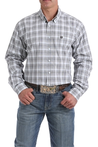 Mens Cinch® Long Sleeve Light Blue Plaid Shirt