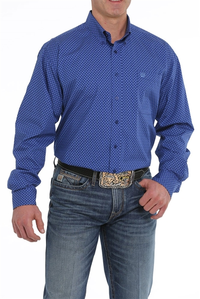 Mens Cinch® Long Sleeve Royal Blue & Navy Shirt