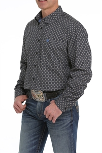 Mens Cinch® Long Sleeve Black, Grey & Blue Print Shirt