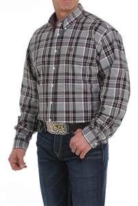 Mens Cinch® Long Sleeve Grey Plaid Shirt