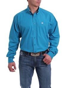 Mens Cinch® Long Sleeve Turquoise White Diamond Print