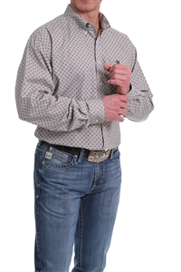 Mens Cinch® Long Sleeve Grey Geometric Print Shirt
