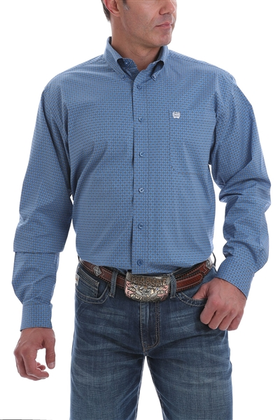 Mens Cinch® Long Sleeve Stretch Blue & White Diamond Print Shirt