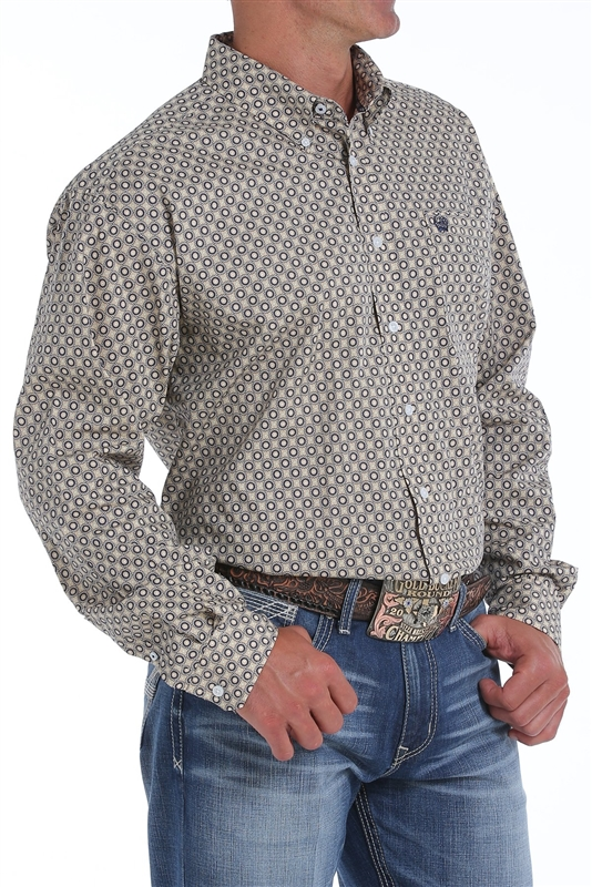 Mens Cinch® Long Sleeve Khaki & Navy Print Shirt