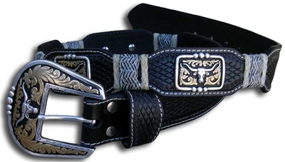 Mens Pro Series Nocona Tri-Colour Longhorn Belt