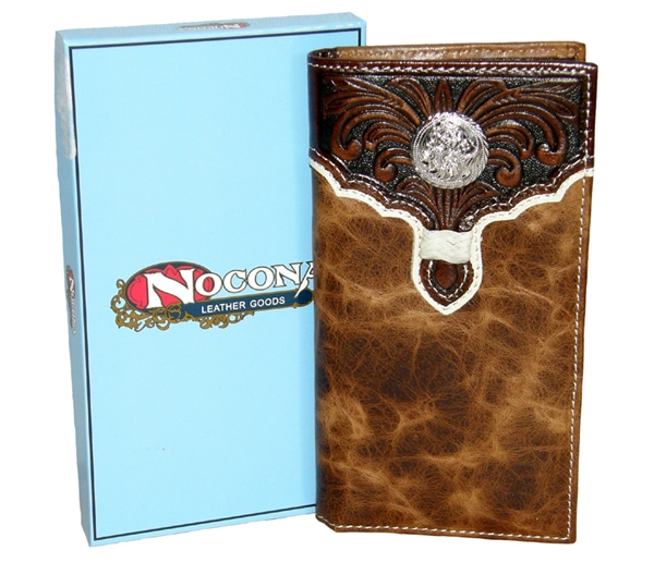 Nocona® Mens Tooled Overlay Rodeo Wallet
