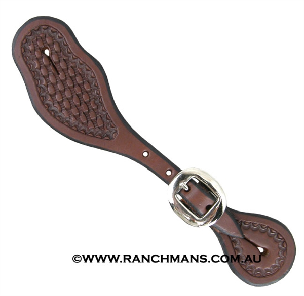 Ranchman's Oiled Ladies Shaped Shell Border Spur Straps