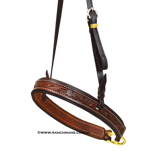 Ranchman's Dark Oil Floral Tooled Tie Down Noseband