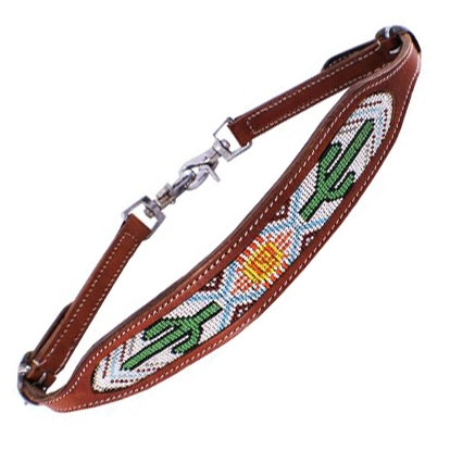 Showman® Cactus & Navajo Design Beaded Inlay Breast Collar Wither Strap