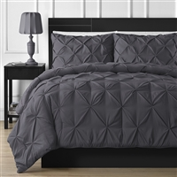 Pinched Pleat Comforter Set - King Grey