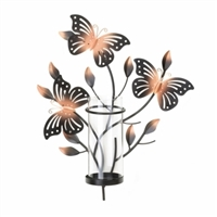 Butterfly Wall Sconce With Glass Candle Cup