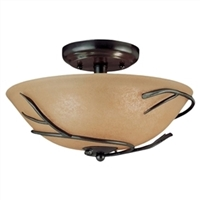 "12"" Round Semi Flush Mount Ceiling Light With Twigs"