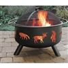 Large Black Steel Fire Pit with Animal Cutouts