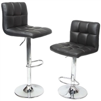 Adjustable Bar Stools - Set of 2 Black