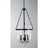 Glass Lantern Chandelier antique copper finish