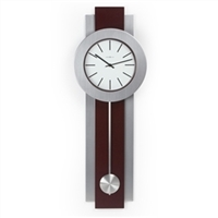 Pendulum Wall Clock in Dark Merlot Cherry and Nickel