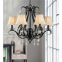 6 light crystal chandelier black iron